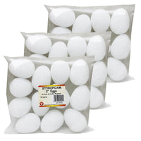 (3 Pk) Styrofoam 2in Eggs 12 Per Pk