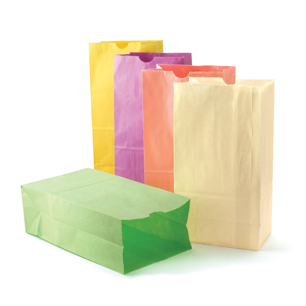 (3 Pk) Colorful Paper Bags Sz6 Pastel Assorted Colors