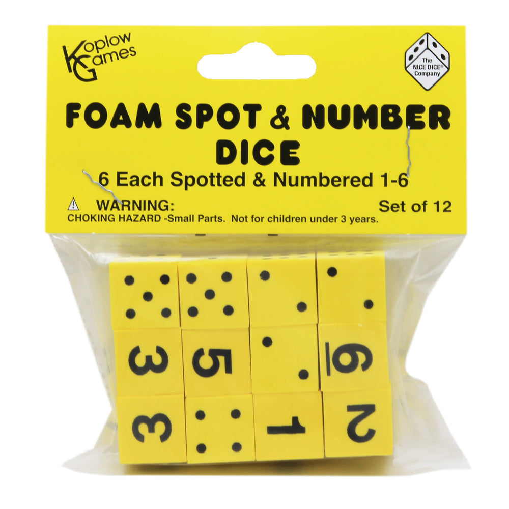 16mm Foam Dice 12pk Yellow Spot & Number