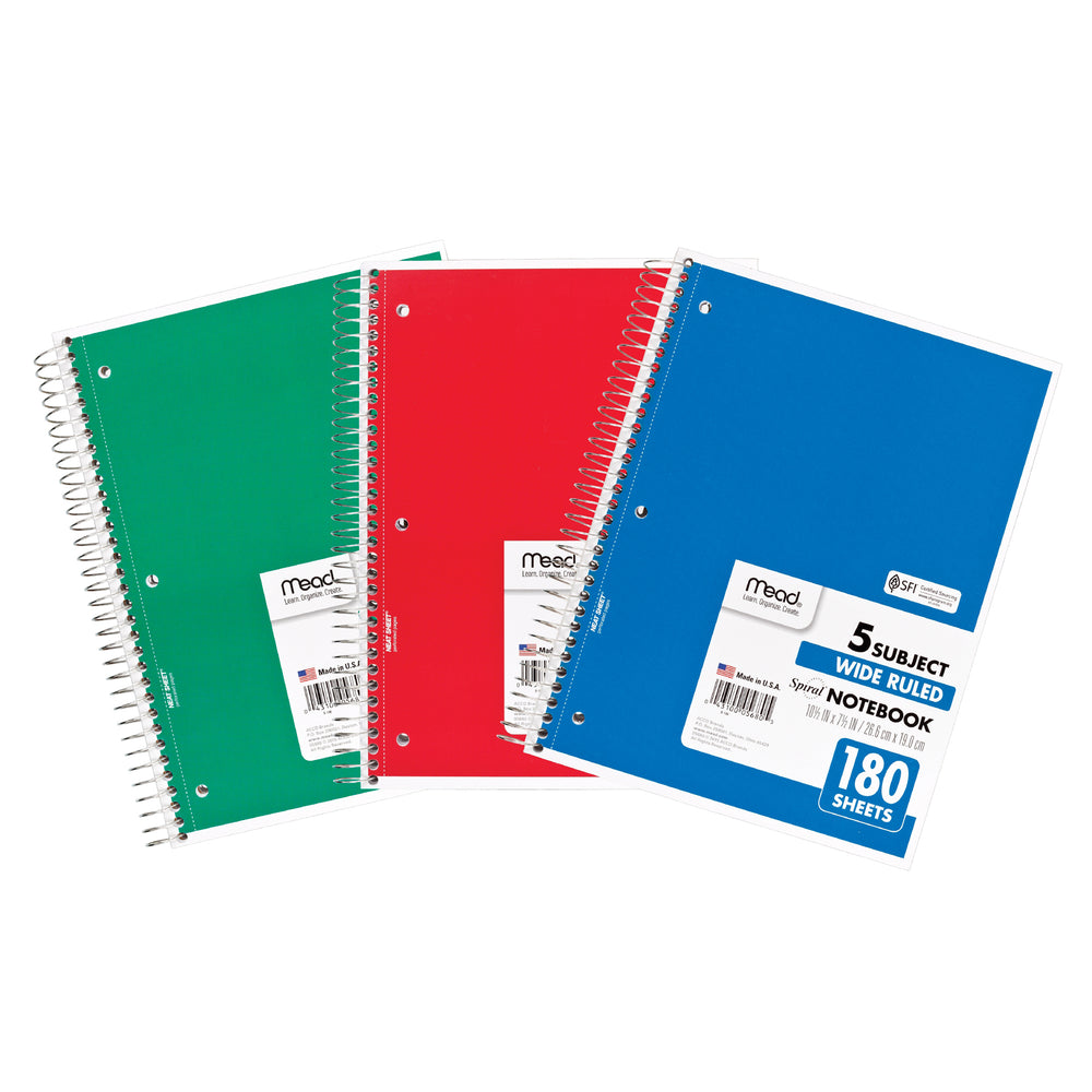 (3 Ea) Notebook Spiral 5 Subject 180sht 10.5x8