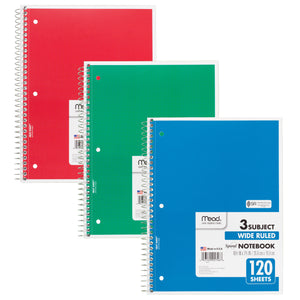 (6 Ea) Notebook Spiral 3 Subject 120sht 10.5x8