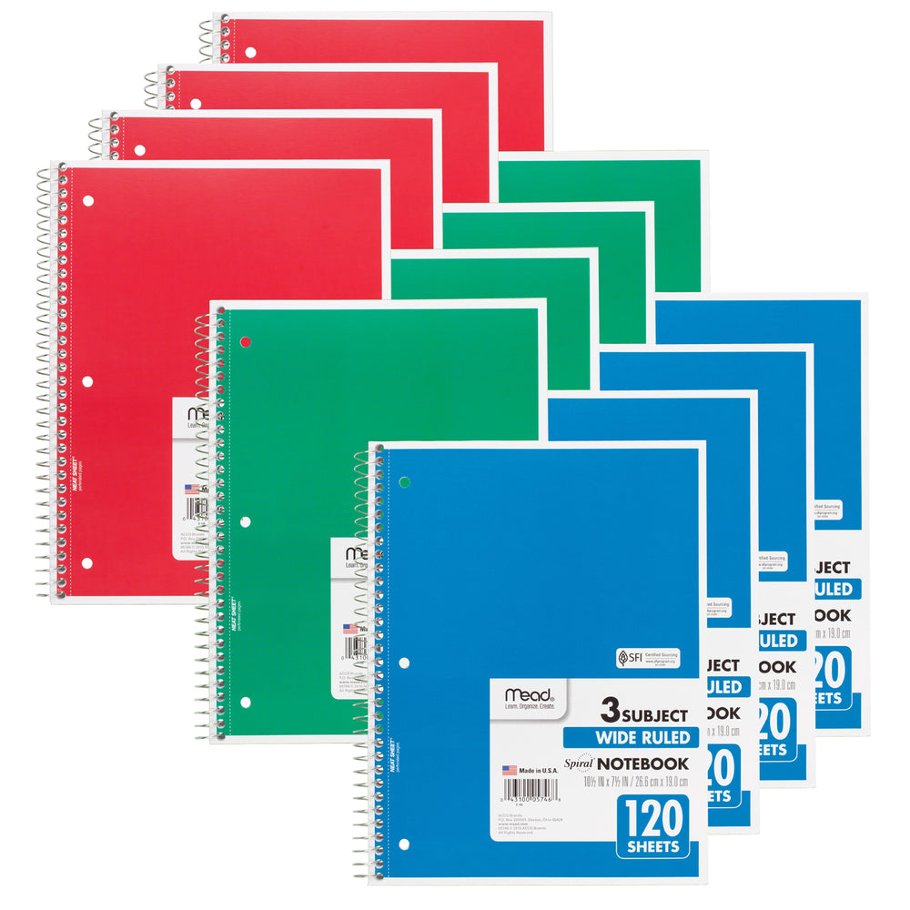 (12 Ea) Notebook Spiral 3 Subject 120sht 10.5x8