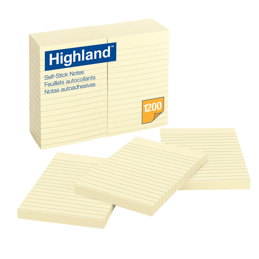 Highland Selfstick Notes 4x6 Lined 12 Pads