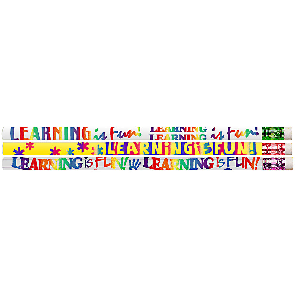 (12 Dz)learning Is Fun Motivational Fun Pencils 12 Per Pk