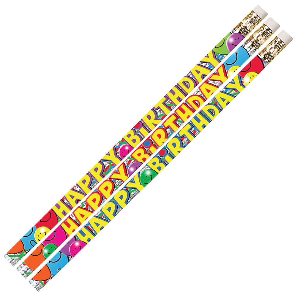 Birthday Bash 12pk Motivational Fun Pencils