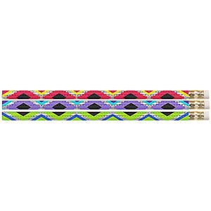 (12 Dz) Geometric Glitz Pencils 12 Per Pk