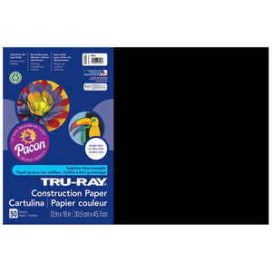 (5 Pk) Tru Ray 12x18 Black Construction Paper 50sht Per Pk