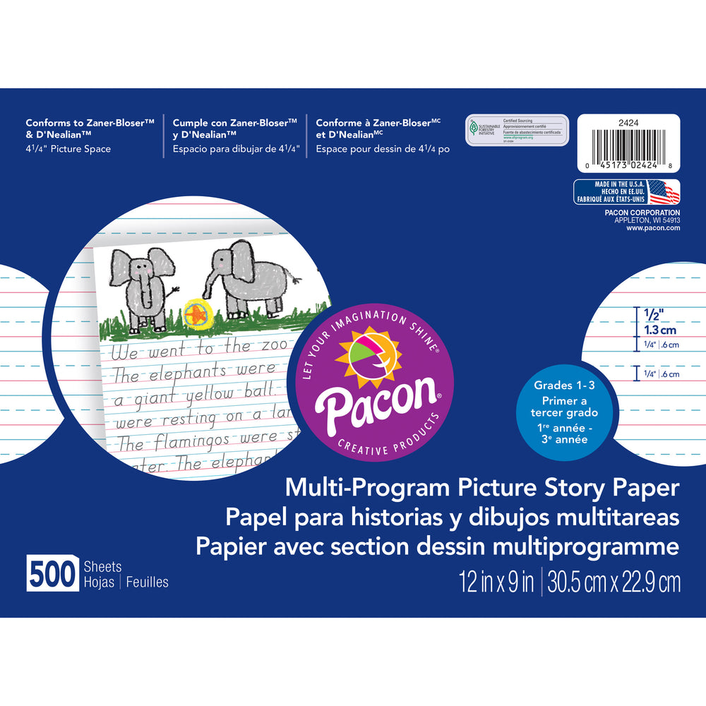 (2 Rm) Picture Story Paper 1-2in Rule 500 Sht Pr Pk 12x9
