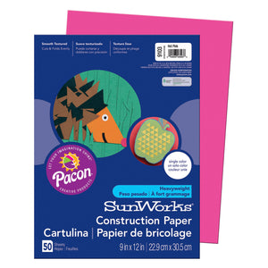 Sunworks 9x12 Hot Pink 50ct Construction Paper