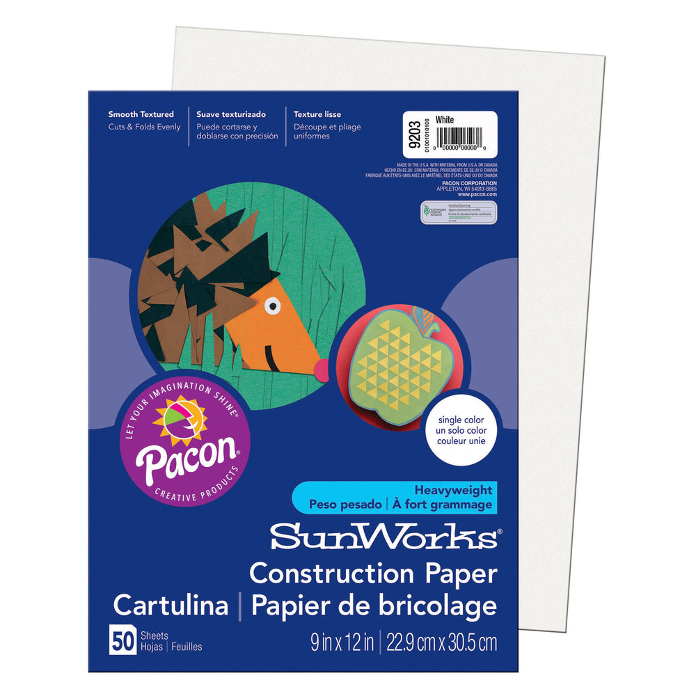 Sunworks 9x12 White 50ct Construction Paper