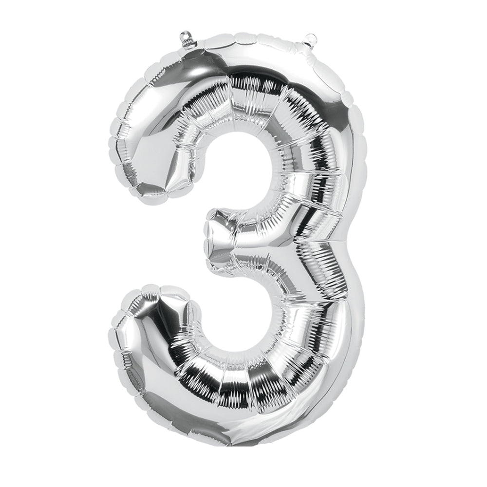 (10 Ea) 16in Foil Balloon Silver Number 3