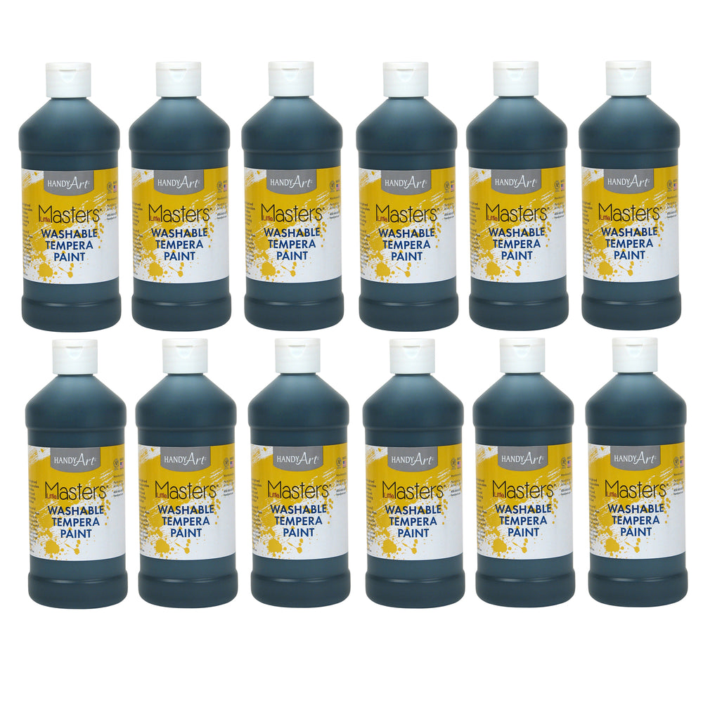 (12 Ea) Little Masters Black 16oz Washable Paint