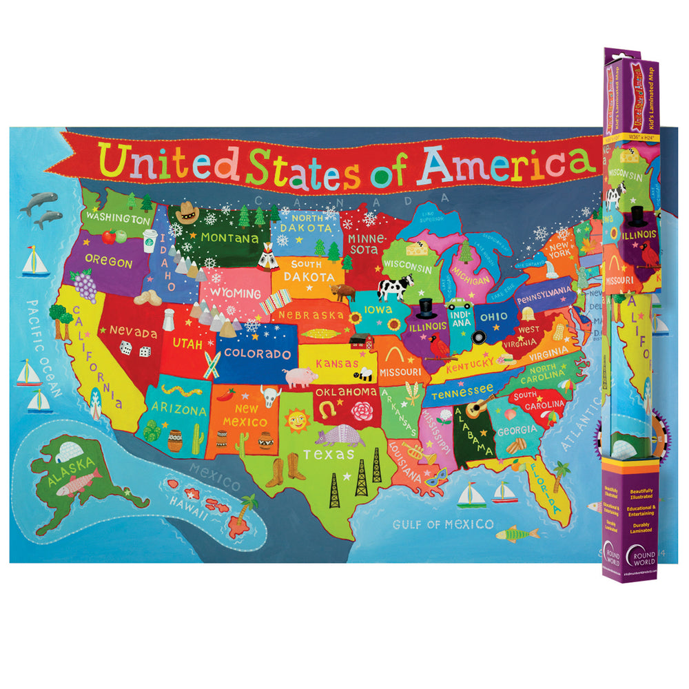 (3 Ea) United States Map For Kids