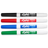 (6 Pk) Expo2 Low Odor Dry Erase 4 Per Pack Marker Set Fine Tip