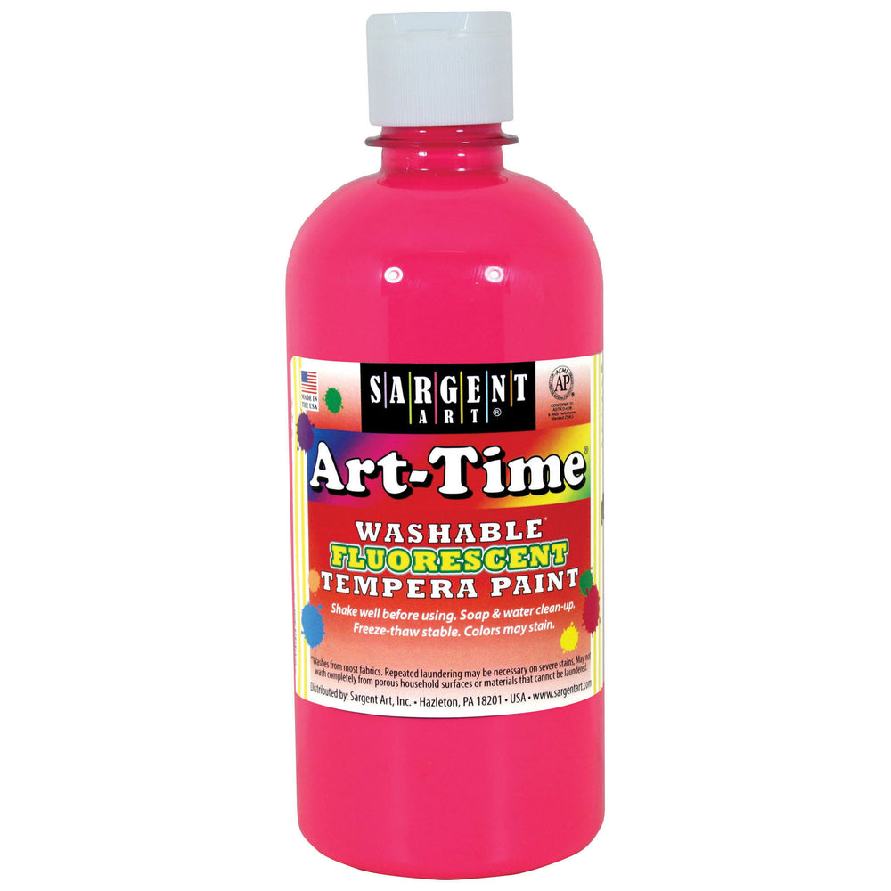 (6 Ea) Arttime Fluorescent Paint 16 Oz Pnk Washable Tempera