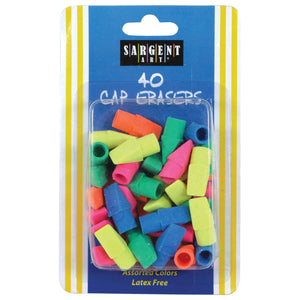 (24 Pk) Assorted Color Cap Eraser 40 Per Pk
