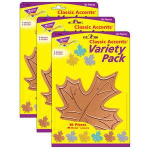 (3 Pk) Leaves Classic Accents Var Pack I Heart Metal