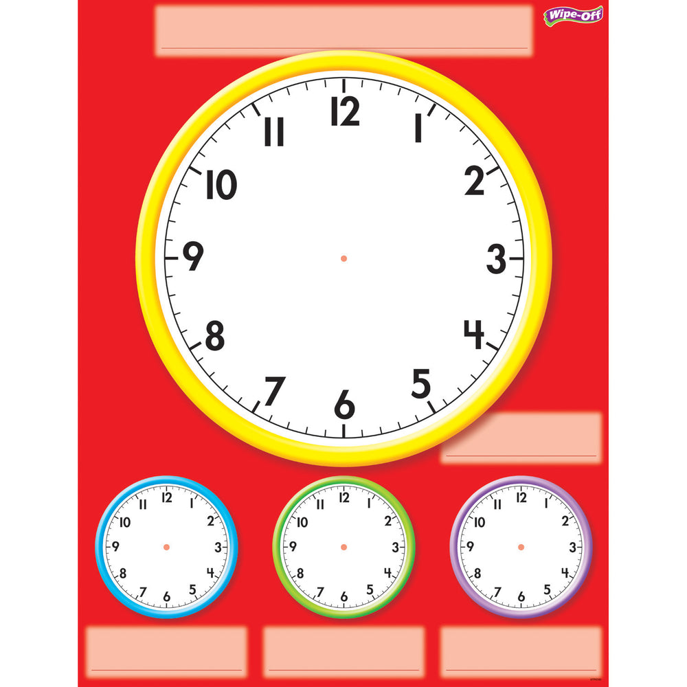 (6 Ea) Clocks Wipe Off Chart 17x22