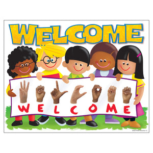 (6 Ea) Chart Sign Language Welcome Trend Kids