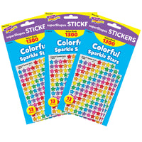 (3 Pk) Supershapes Variety 1300 Per Pk Clrful Stars Sparkle