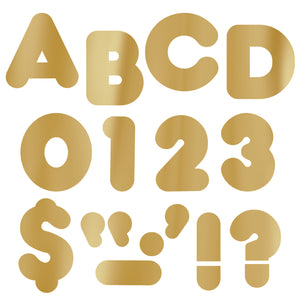 (6 Pk) Ready Letters 4in Casual Metallic Gold