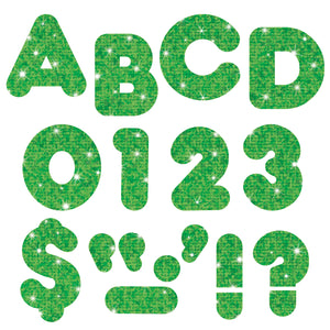 (3 Pk) Ready Letters 2in Casual Green Sparkle