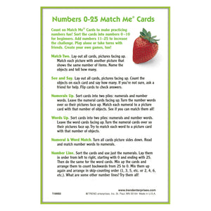 (6 Ea) Match Me Cards Numbers 0-25 52 Per Bx 2-sided Cards Ages 4&up
