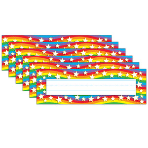 (6 Pk) Star Rainbow Desk Toppers Name Plates