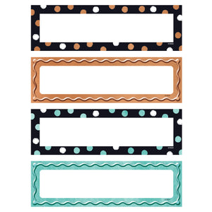 (6 Pk) Dots & Embossed Desk Name Plates Variety Pk I Love Metal