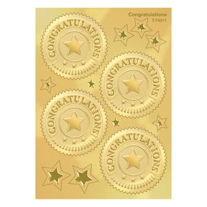 (6 Pk) Congratulations Gold Award Seals 32 Per Pk
