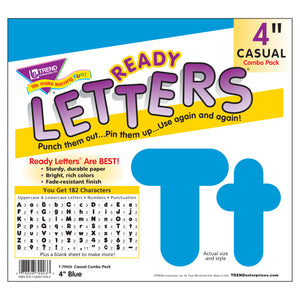 Ready Letter 4 Inch Casual Blue Uppercase & Lowercase Combo