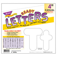 (6 Pk) Ready Letters 4in White Casual Uppercase & Lowercase Combo