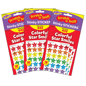(3 Pk) Stinky Stickers Smiley Stars 432 Per Variety Pk Acid-free