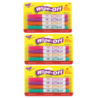 (3 Pk) Wipe Off Marker 4 New Colors Per Pk