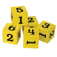 (5 Pk) Foam Numbered 1-6 Dice 20 Per Pk