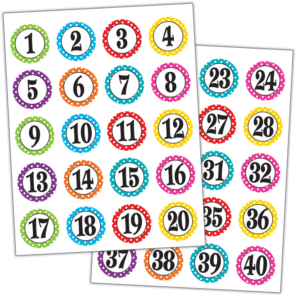(6 Pk) Polka Dots Numbers Stickers