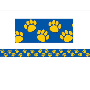 Blue With Gold Paw Prints Border Trim
