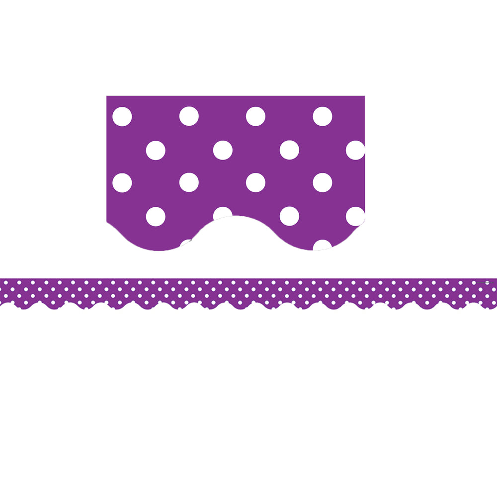 (6 Pk) Purple Mini Polka Dots Scalloped Border Trim
