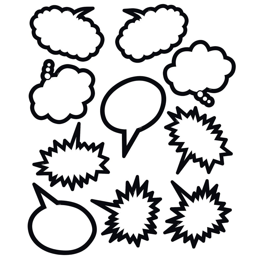 (3 Pk) Superhero Black & White Speech Thought Bubbles Accents