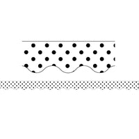 (6 Pk) Black Polka Dots On White Scalloped Border Trim