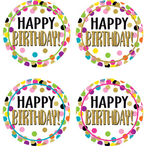 (6 Pk) Confetti Happy Birthday Badges