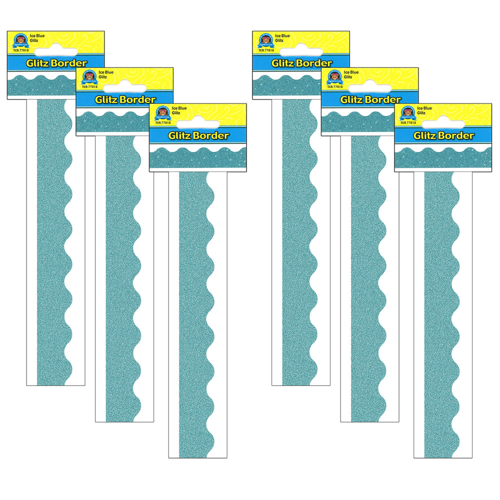 (6 Pk) Ice Blue Glitz Scalloped Border