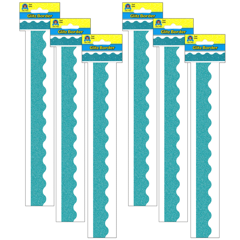 (6 Pk) Teal Glitz Scalloped Border Trim