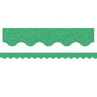 (3 Pk) Green Glitz Scalloped Border Trim