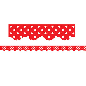 (3 Pk) Red Polka Dots Scalloped Border