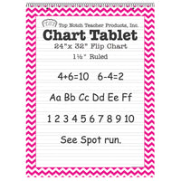 (2 Ea) Pink Chevron Border Chart Tablet 24x32 1-1-2in Ruled