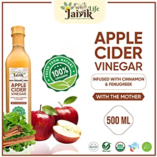 Buy Jaiviklife Organic Apple Cider Vinegar(ACV) Infused with Cinnamon & Fenugreek,500ml