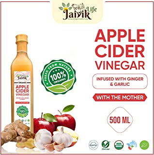 Buy Jaiviklife Organic Apple Cider Vinegar(ACV) Infused with Ginger & Garlic,500ml