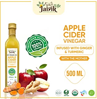Buy Jaiviklife Organic Apple Cider Vinegar(ACV) Infused with Ginger & Turmeric,500ml