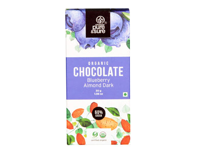 Organic Chocolate Bar-Blueberry, Almond Dark (Pure&Sure)
